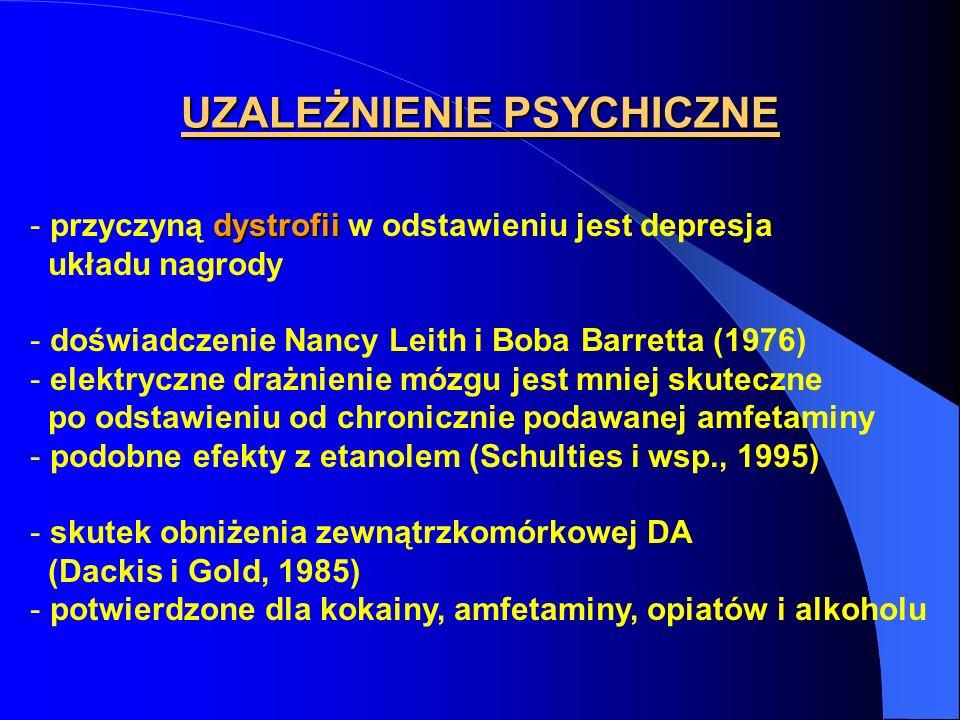 UZALEŻNIENIE PSYCHICZNE dystrofii - przyczyną dystrofii w odstawieniu jest depresja układu nagrody - doświadczenie Nancy Leith i Boba Barretta (1976)