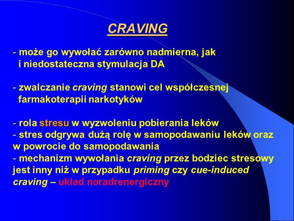 CRAVING - może go wywołać zarówno nadmierna, jak i niedostateczna stymulacja DA - zwalczanie craving stanowi cel współczesnej farmakoterapii narkotykó