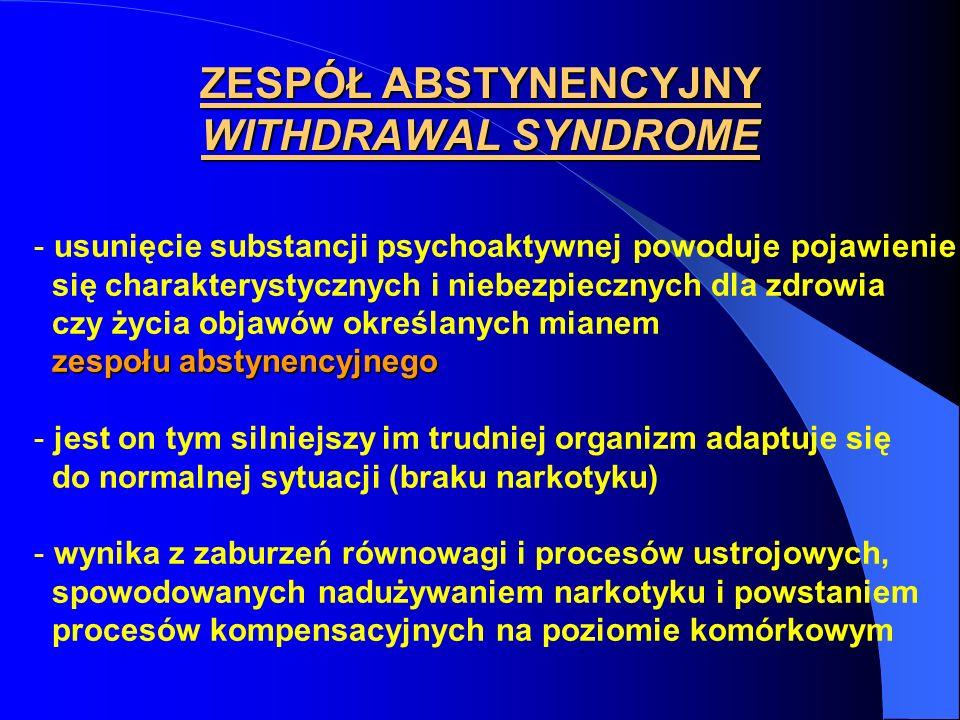 ZESPÓŁ ABSTYNENCYJNY WITHDRAWAL SYNDROME - usunięcie substancji psychoaktywnej powoduje pojawienie się charakterystycznych i niebezpiecznych dla zdrow