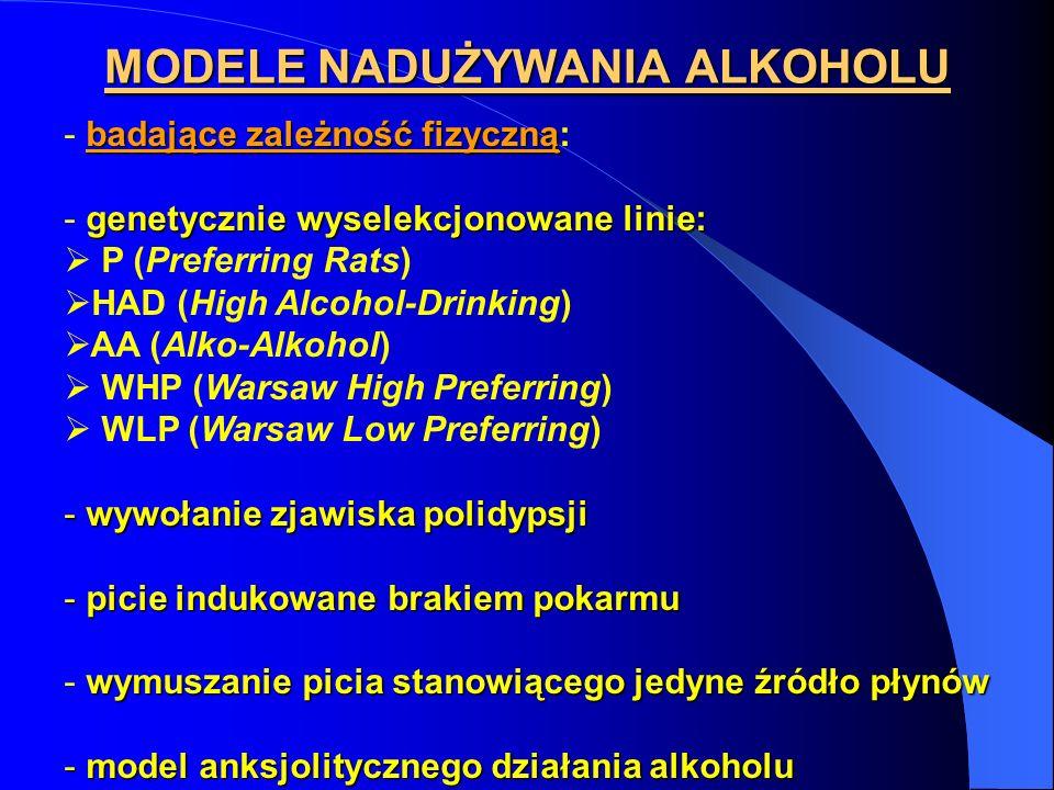 MODELE NADUŻYWANIA ALKOHOLU badające zależność fizyczną - badające zależność fizyczną: genetycznie wyselekcjonowane linie: - genetycznie wyselekcjonow