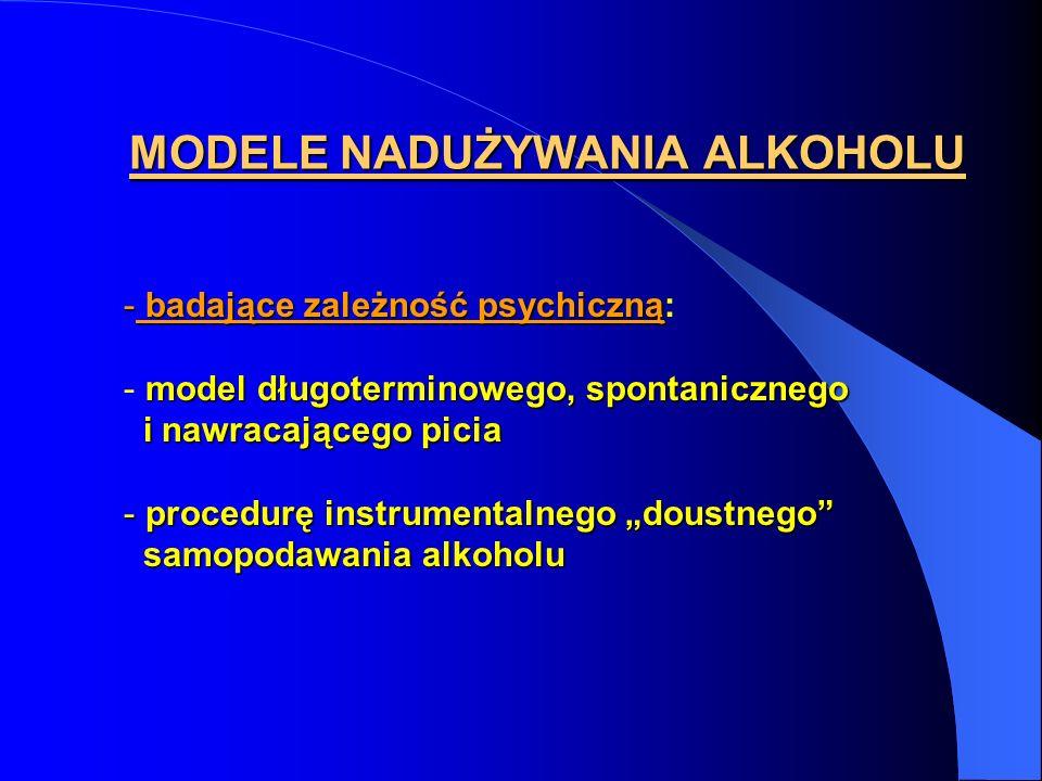 MODELE NADUŻYWANIA ALKOHOLU - badające zależność psychiczną - badające zależność psychiczną: model długoterminowego, spontanicznego - model długotermi
