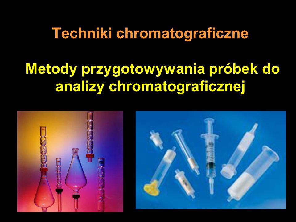 Próbki ciekłe - ekstrakcja ciecz - ciał stałe W metodzie SPE wykorzystuje się wiele różnych adsorbentów C18 (oktadecyl na żelu krzemionkowym) Florisil (SiO2 + MgO) żel krzemionkowy polimery (akrylowe, etylowinylobenzenowo- lub styrenowo-diwinylobenzenowe) węgle aktywne i sadze zeolity