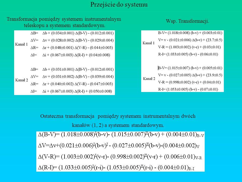 Przejście do systemu Transformacja pomiędzy systemem instrumentalnym teleskopu a systemem standardowym. Wsp. Transformacji. Ostateczna transformacja p