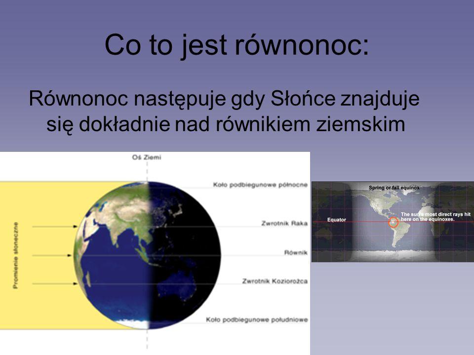 Co to jest równonoc: Równonoc następuje gdy Słońce znajduje się dokładnie nad równikiem ziemskim