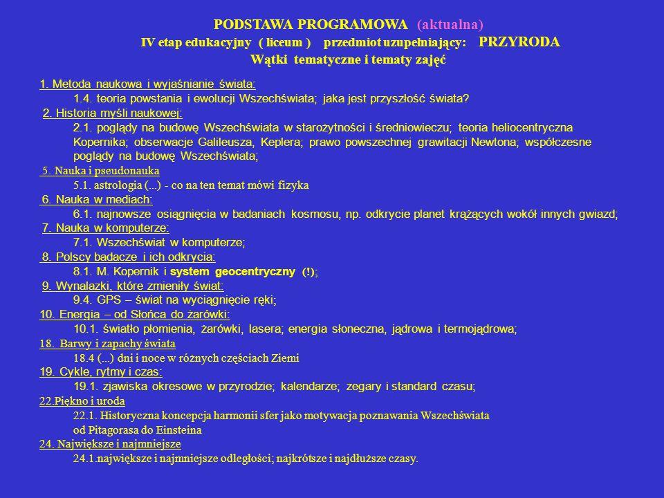 PODSTAWA PROGRAMOWA (aktualna) IV etap edukacyjny ( liceum ) przedmiot uzupełniający: PRZYRODA Wątki tematyczne i tematy zajęć 1. Metoda naukowa i wyj