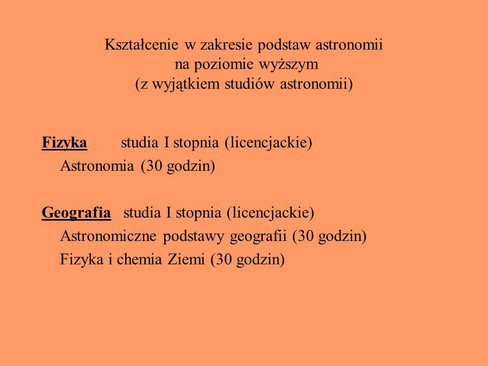 Kształcenie w zakresie podstaw astronomii na poziomie wyższym (z wyjątkiem studiów astronomii) Fizyka studia I stopnia (licencjackie) Astronomia (30 g