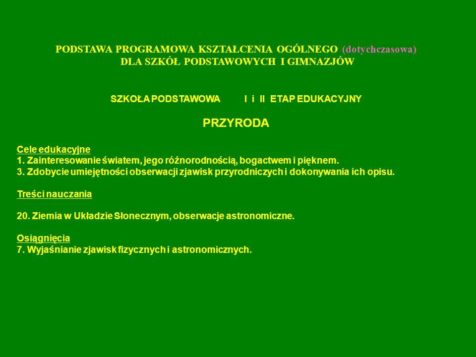 PODSTAWA PROGRAMOWA KSZTAŁCENIA OGÓLNEGO (dotychczasowa) DLA SZKÓŁ PODSTAWOWYCH I GIMNAZJÓW GIMNAZJUM (III ETAP EDUKACYJNY) FIZYKA I ASTRONOMIA Cele edukacyjne 1.