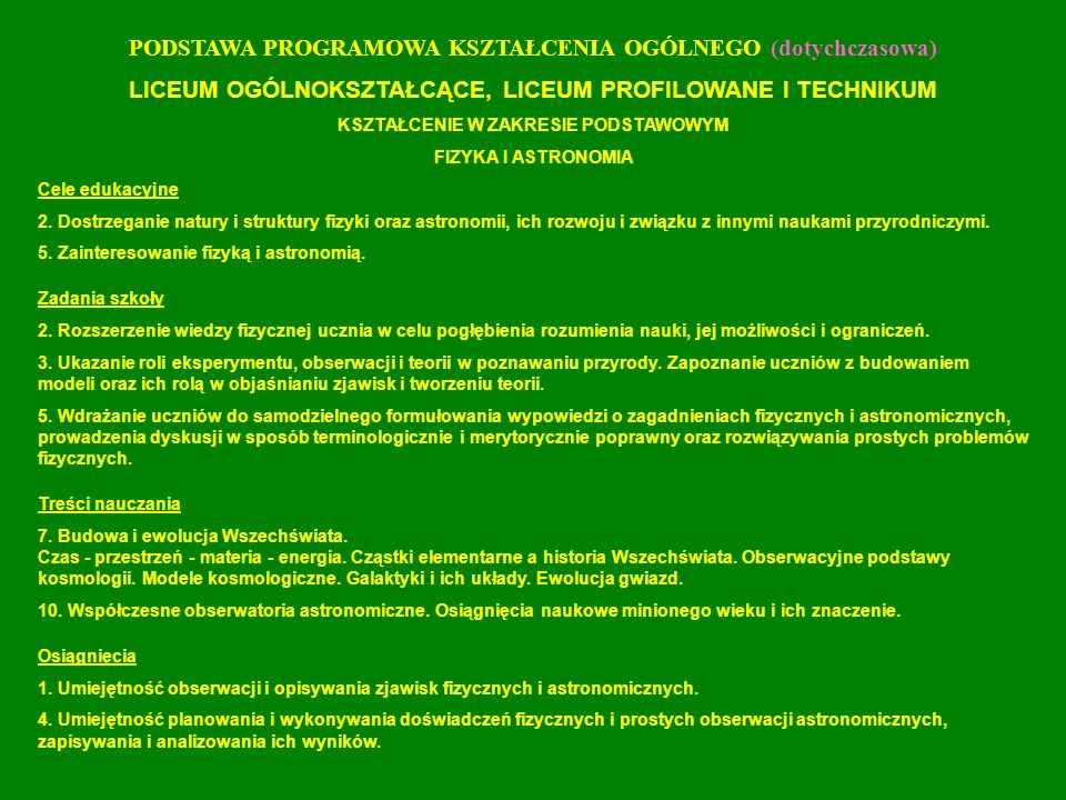 Załącznik nr 34 Standardy kształcenia dla kierunku studiów: Fizyka A.