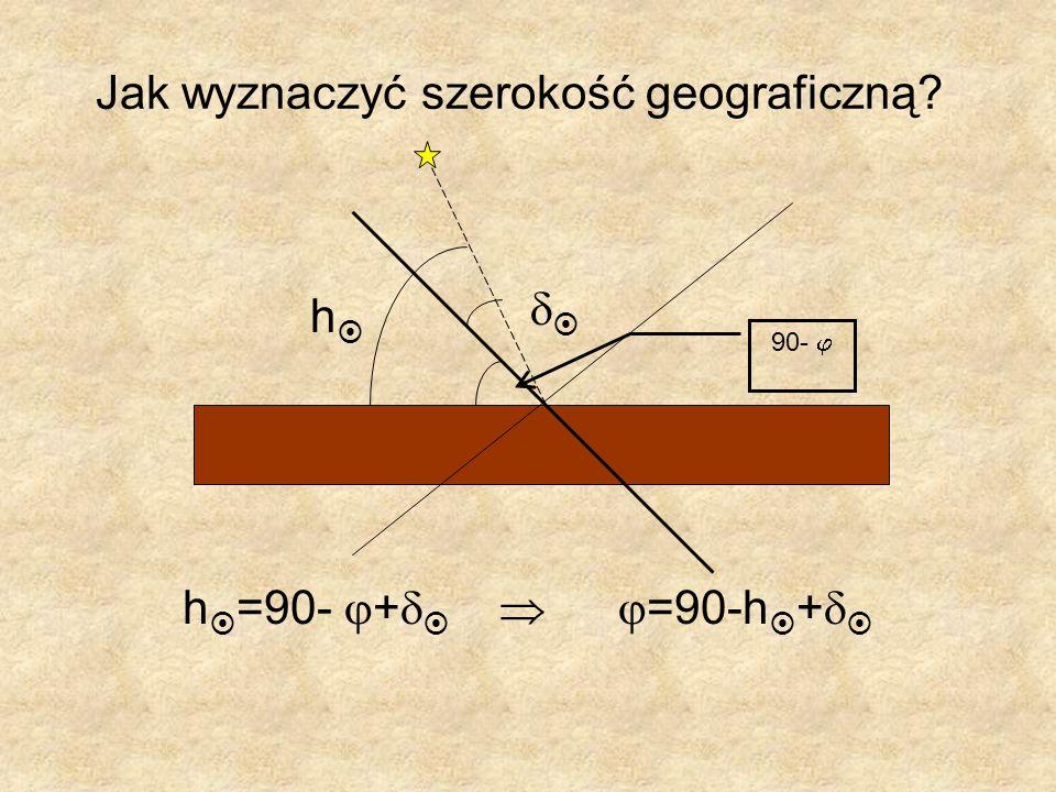Jak wyznaczyć szerokość geograficzną? h =90- + =90-h + h 90-