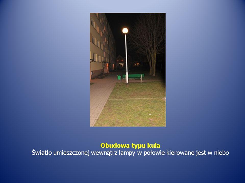 Obudowa typu kula Światło umieszczonej wewnątrz lampy w połowie kierowane jest w niebo