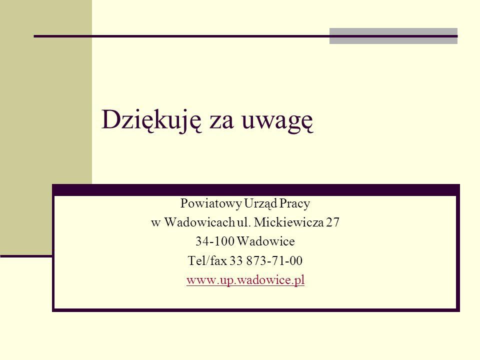 Dziękuję za uwagę Powiatowy Urząd Pracy w Wadowicach ul. Mickiewicza 27 34-100 Wadowice Tel/fax 33 873-71-00 www.up.wadowice.pl