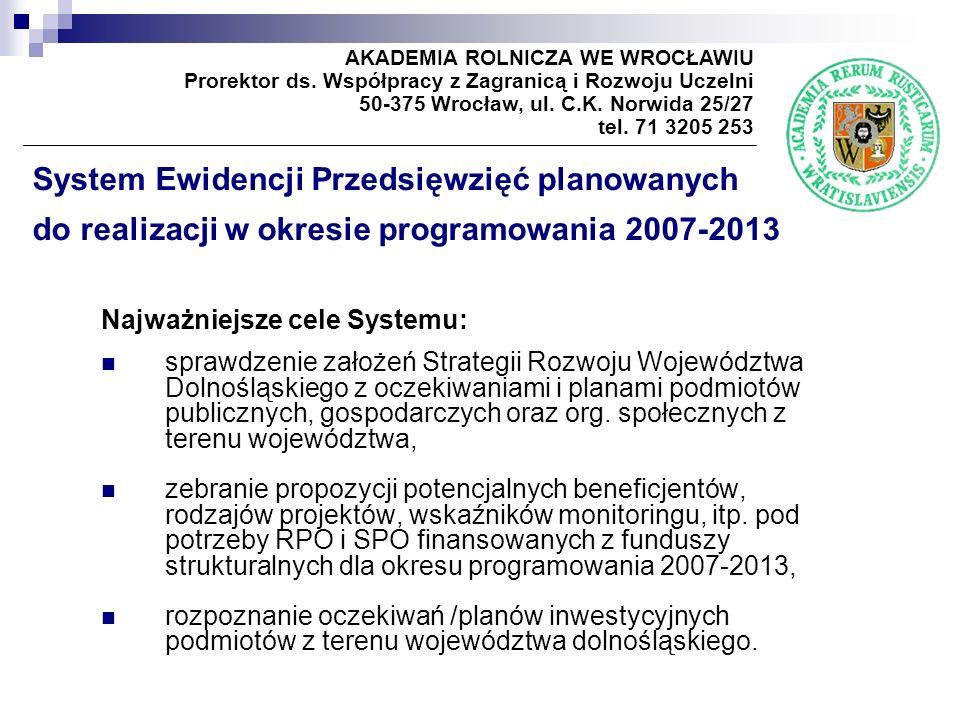 System Ewidencji Przedsięwzięć planowanych do realizacji w okresie programowania 2007-2013 Najważniejsze cele Systemu: sprawdzenie założeń Strategii Rozwoju Województwa Dolnośląskiego z oczekiwaniami i planami podmiotów publicznych, gospodarczych oraz org.