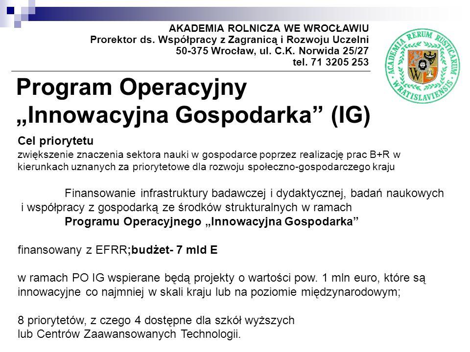 Program Operacyjny Innowacyjna Gospodarka (IG) AKADEMIA ROLNICZA WE WROCŁAWIU Prorektor ds. Współpracy z Zagranicą i Rozwoju Uczelni 50-375 Wrocław, u