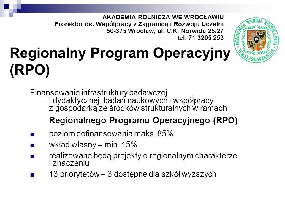Regionalny Program Operacyjny (RPO) AKADEMIA ROLNICZA WE WROCŁAWIU Prorektor ds.
