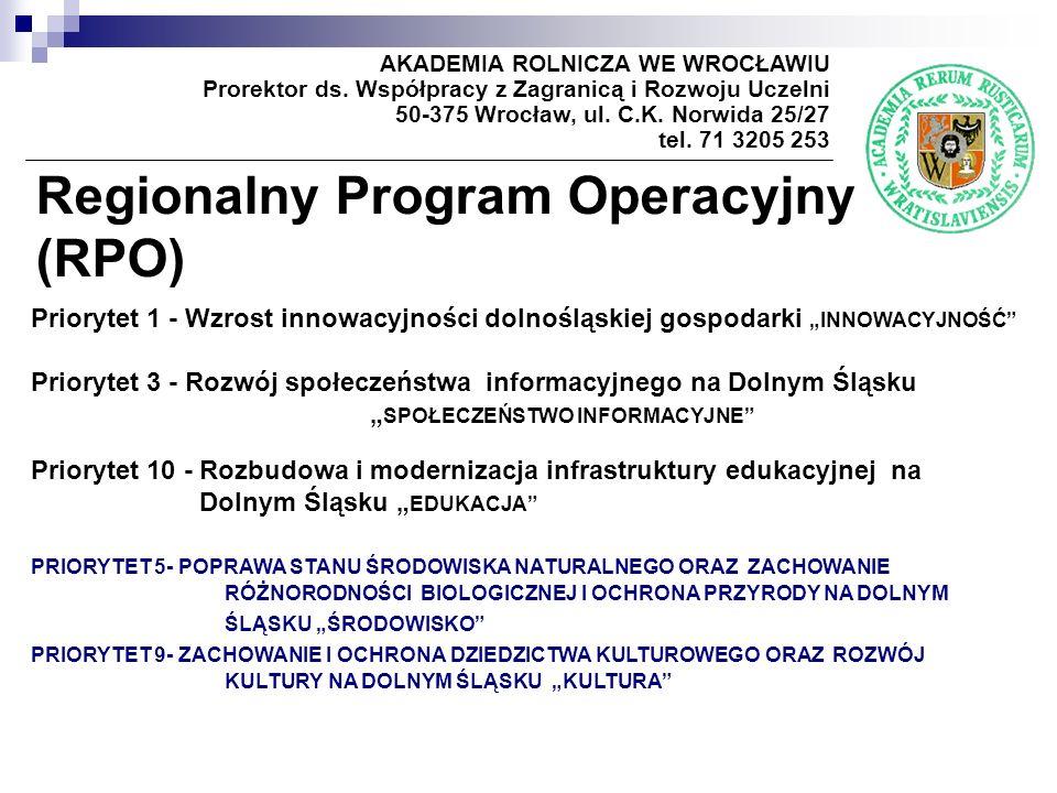 Regionalny Program Operacyjny (RPO) AKADEMIA ROLNICZA WE WROCŁAWIU Prorektor ds. Współpracy z Zagranicą i Rozwoju Uczelni 50-375 Wrocław, ul. C.K. Nor