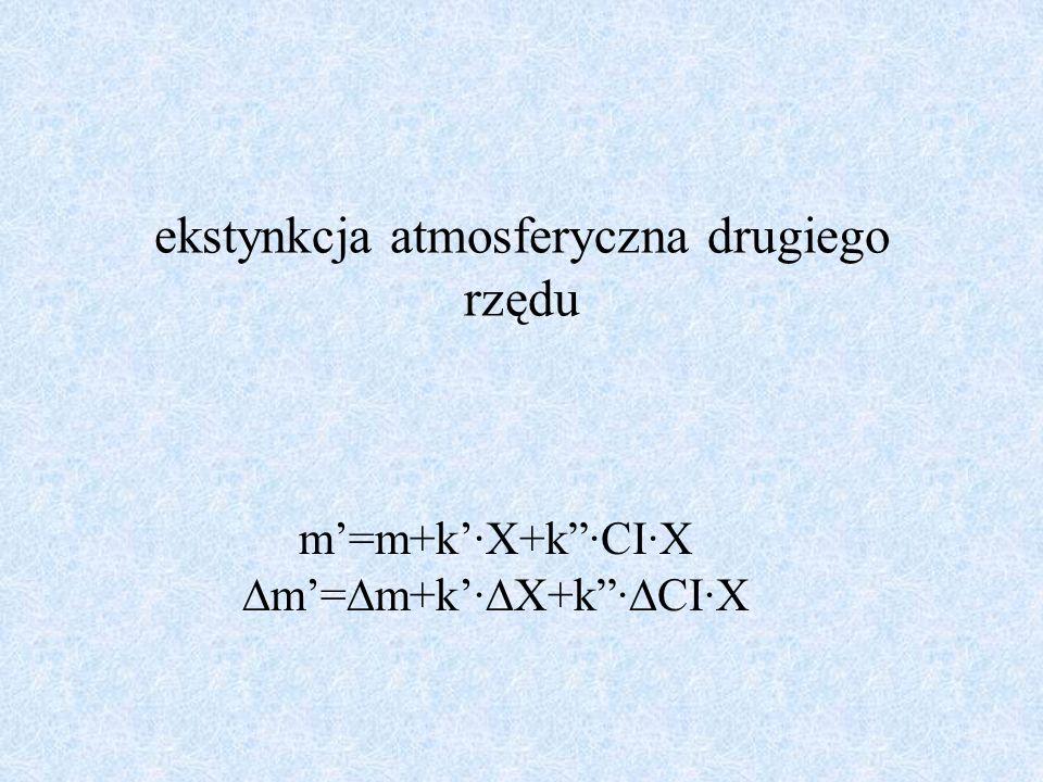 ekstynkcja atmosferyczna drugiego rzędu m=m+k·X+k·CI·X