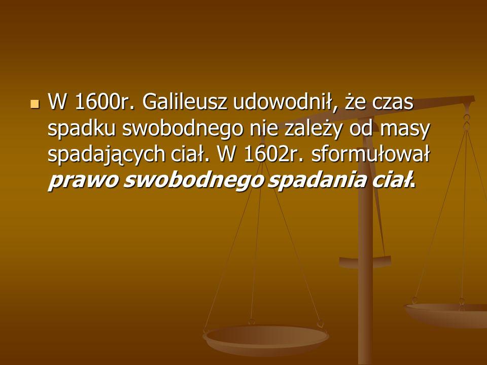 W 1600r. Galileusz udowodnił, że czas spadku swobodnego nie zależy od masy spadających ciał. W 1602r. sformułował prawo swobodnego spadania ciał. W 16