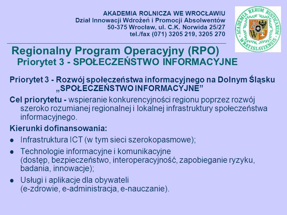 Priorytet 3 - Rozwój społeczeństwa informacyjnego na Dolnym Śląsku SPOŁECZEŃSTWO INFORMACYJNE Cel priorytetu - wspieranie konkurencyjności regionu pop
