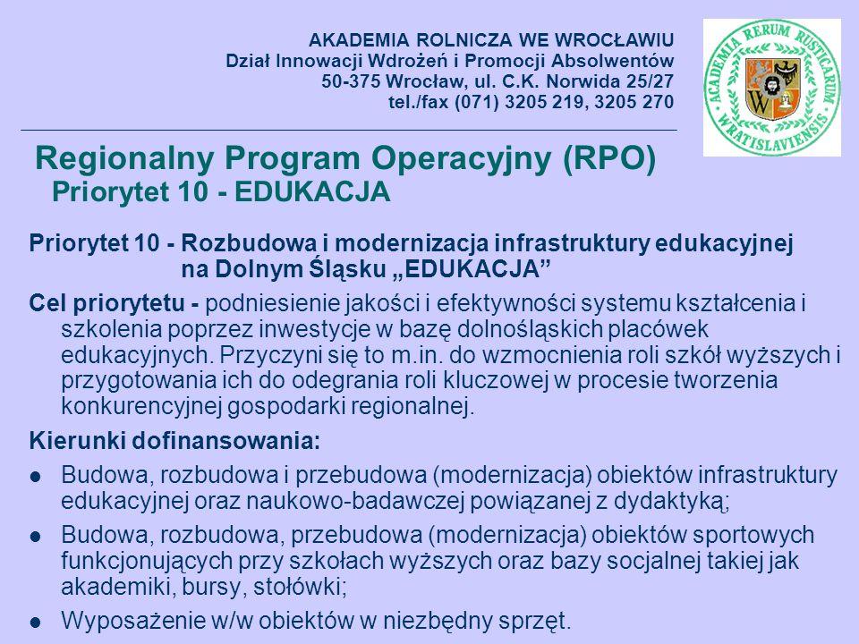 Regionalny Program Operacyjny (RPO) Priorytet 10 - EDUKACJA Priorytet 10 - Rozbudowa i modernizacja infrastruktury edukacyjnej na Dolnym Śląsku EDUKAC