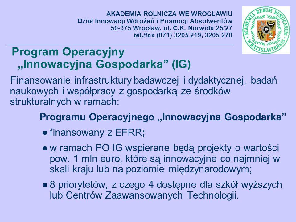 Program Operacyjny Innowacyjna Gospodarka (IG) Finansowanie infrastruktury badawczej i dydaktycznej, badań naukowych i współpracy z gospodarką ze środ