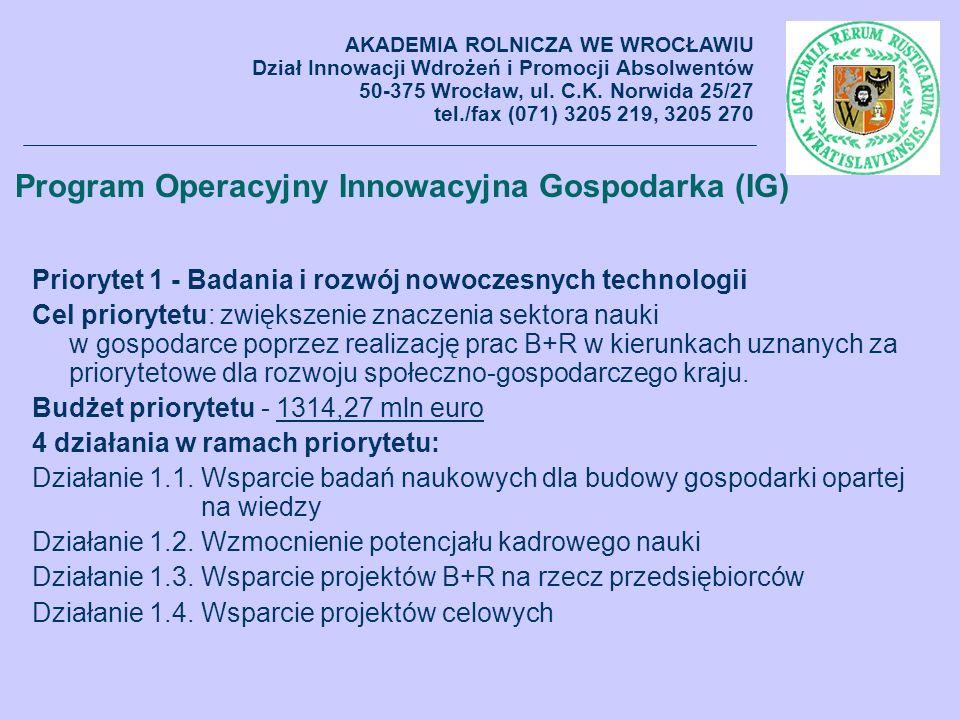 Program Operacyjny Innowacyjna Gospodarka (IG) Priorytet 1 - Badania i rozwój nowoczesnych technologii Cel priorytetu: zwiększenie znaczenia sektora n