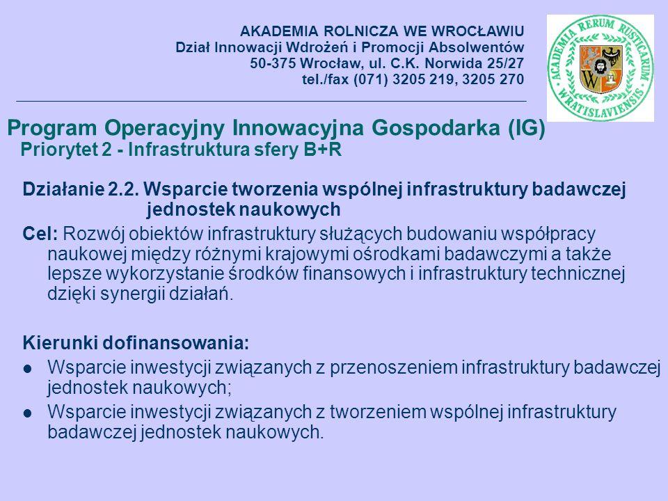 Działanie 2.2. Wsparcie tworzenia wspólnej infrastruktury badawczej jednostek naukowych Cel: Rozwój obiektów infrastruktury służących budowaniu współp