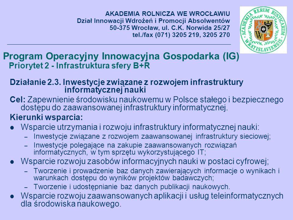 Działanie 2.3. Inwestycje związane z rozwojem infrastruktury informatycznej nauki Cel: Zapewnienie środowisku naukowemu w Polsce stałego i bezpieczneg