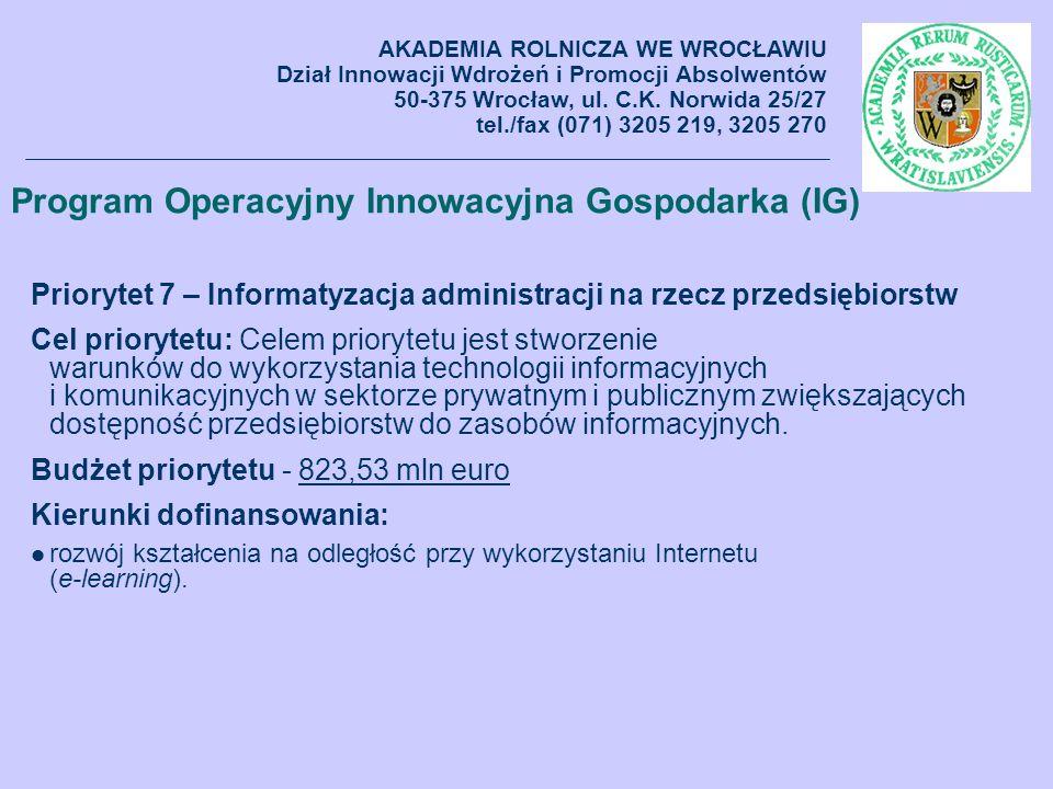 Priorytet 7 – Informatyzacja administracji na rzecz przedsiębiorstw Cel priorytetu: Celem priorytetu jest stworzenie warunków do wykorzystania technol