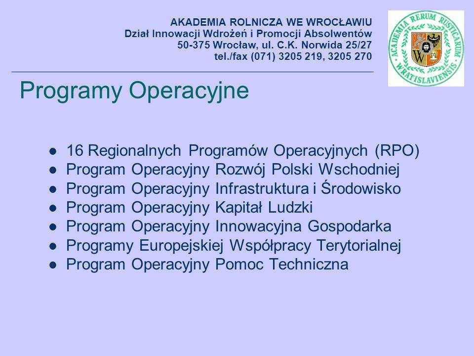 Programy Operacyjne 16 Regionalnych Programów Operacyjnych (RPO) Program Operacyjny Rozwój Polski Wschodniej Program Operacyjny Infrastruktura i Środo
