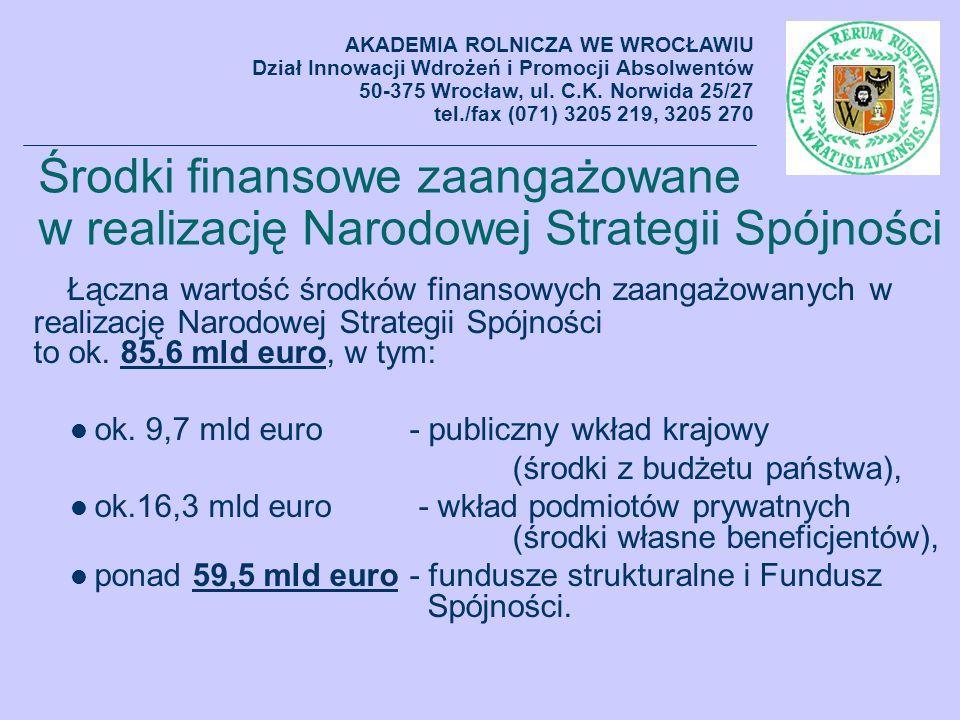 Środki finansowe zaangażowane w realizację Narodowej Strategii Spójności Łączna wartość środków finansowych zaangażowanych w realizację Narodowej Stra