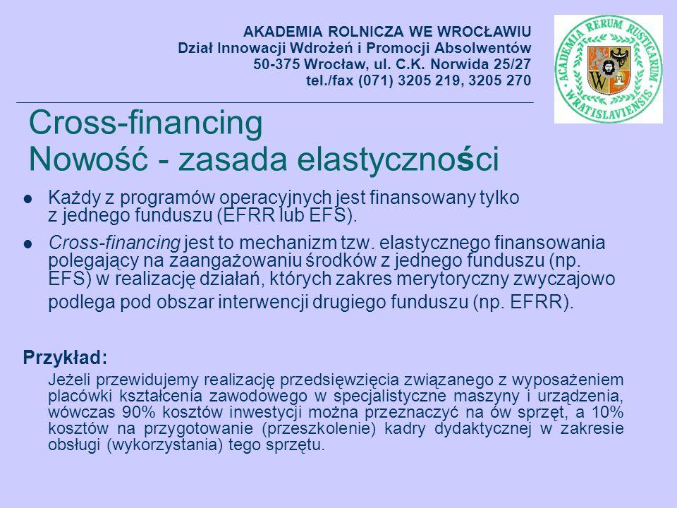 Cross-financing Nowość - zasada elastyczności Każdy z programów operacyjnych jest finansowany tylko z jednego funduszu (EFRR lub EFS). Cross-financing