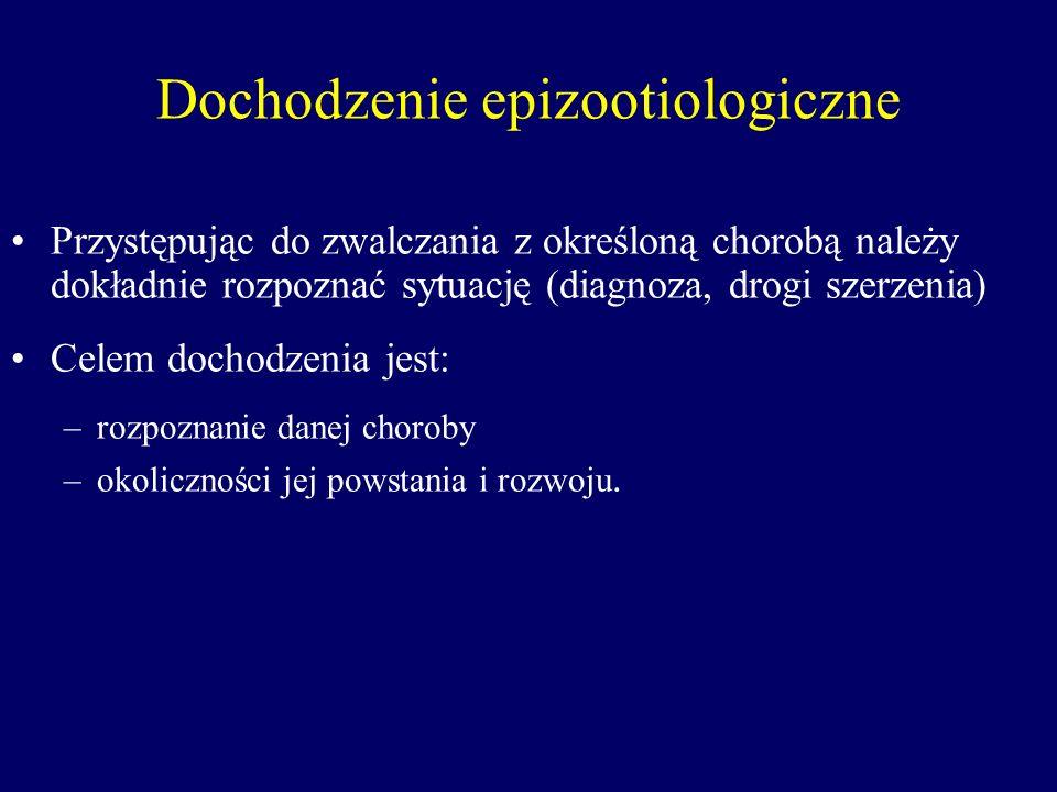 Dochodzenie epizootiologiczne Przystępując do zwalczania z określoną chorobą należy dokładnie rozpoznać sytuację (diagnoza, drogi szerzenia) Celem doc