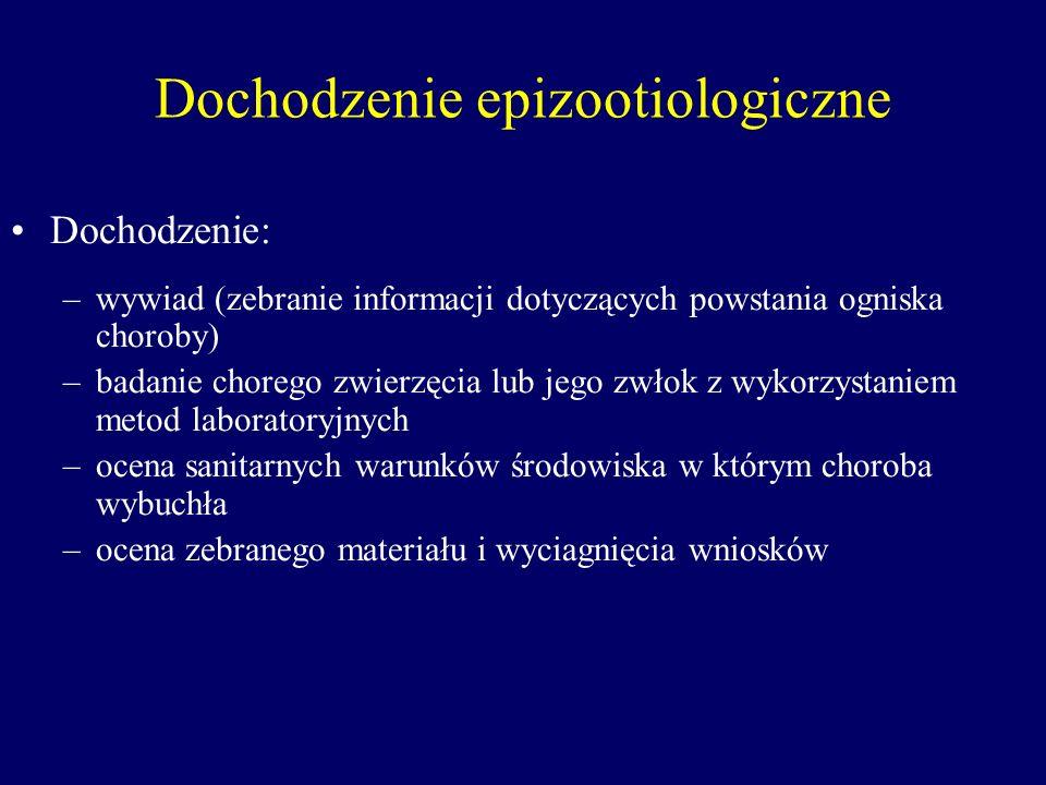 Dochodzenie epizootiologiczne Dochodzenie: –wywiad (zebranie informacji dotyczących powstania ogniska choroby) –badanie chorego zwierzęcia lub jego zw