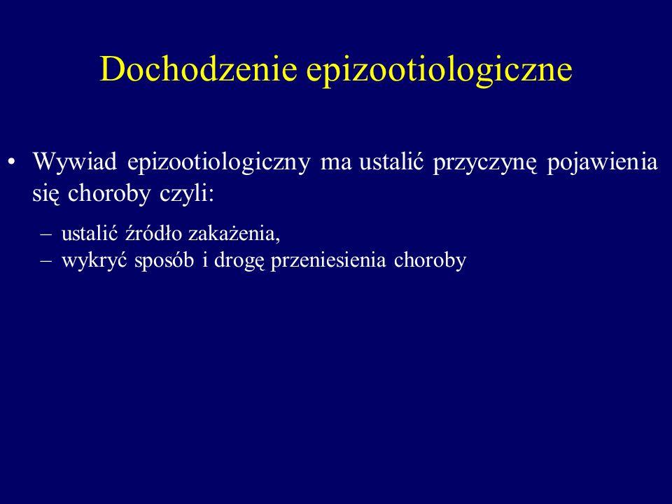 Dochodzenie epizootiologiczne Wywiad epizootiologiczny ma ustalić przyczynę pojawienia się choroby czyli: –ustalić źródło zakażenia, –wykryć sposób i