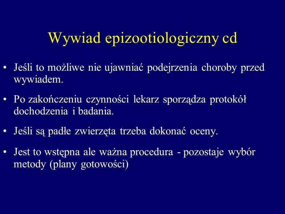 Wywiad epizootiologiczny cd Jeśli to możliwe nie ujawniać podejrzenia choroby przed wywiadem. Po zakończeniu czynności lekarz sporządza protokół docho