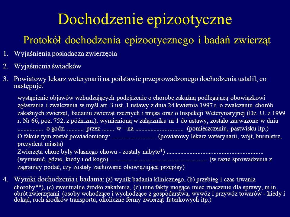 Dochodzenie epizootyczne Protokół dochodzenia epizootycznego i badań zwierząt 1.Wyjaśnienia posiadacza zwierzęcia 2.Wyjaśnienia świadków 3.Powiatowy l