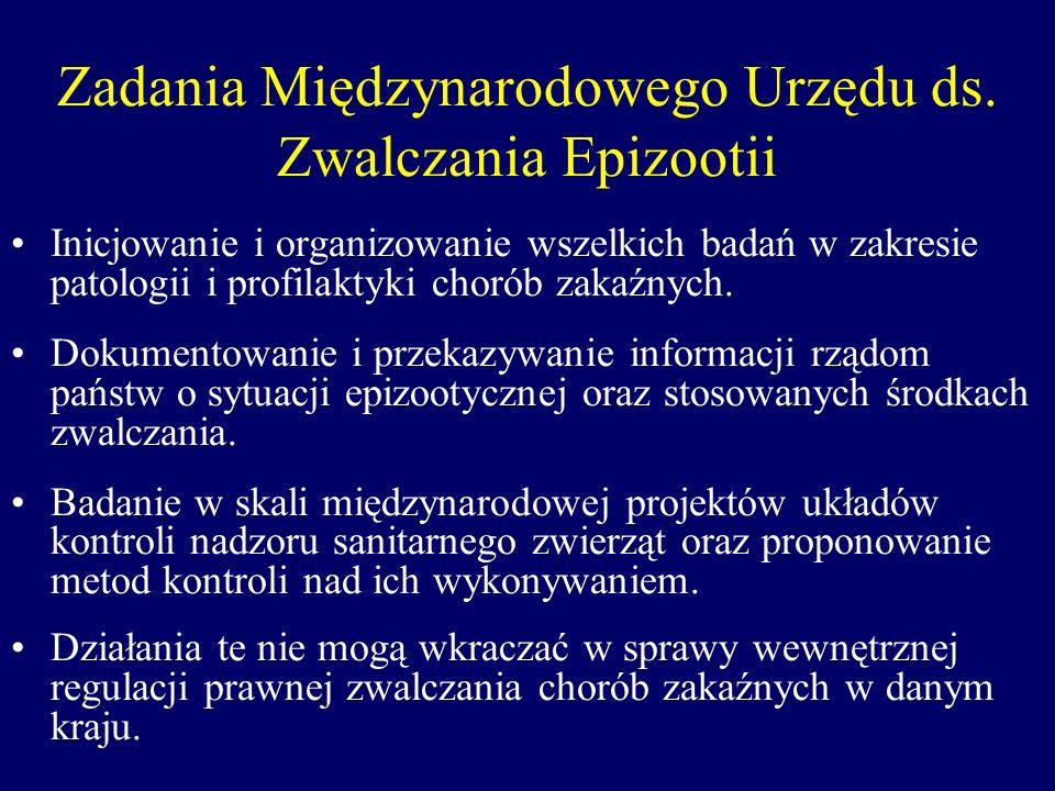 Zadania Międzynarodowego Urzędu ds. Zwalczania Epizootii Inicjowanie i organizowanie wszelkich badań w zakresie patologii i profilaktyki chorób zakaźn