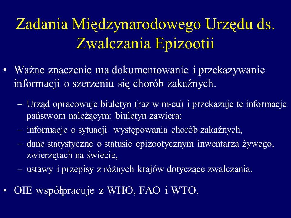 Zadania Międzynarodowego Urzędu ds. Zwalczania Epizootii Ważne znaczenie ma dokumentowanie i przekazywanie informacji o szerzeniu się chorób zakaźnych