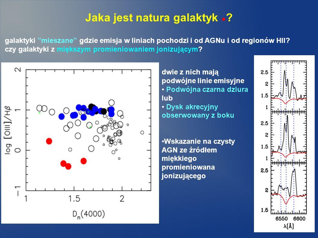 Jaka jest natura galaktyk ? galaktyki mieszane gdzie emisja w liniach pochodzi i od AGNu i od regionów HII? czy galaktyki z miększym promieniowaniem j