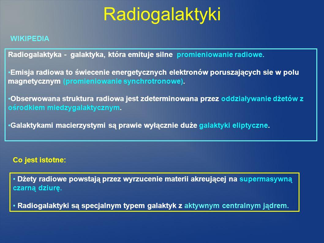 Radiogalaktyki Radiogalaktyka - galaktyka, która emituje silne promieniowanie radiowe. Emisja radiowa to świecenie energetycznych elektronów poruszają