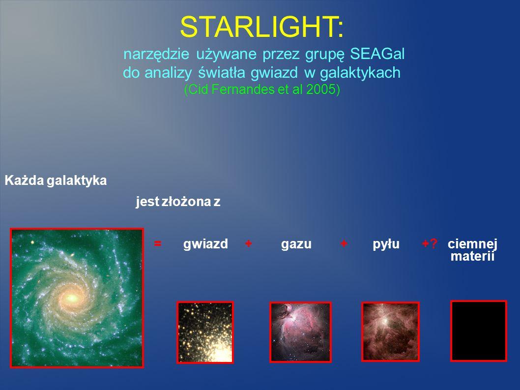 STARLIGHT: narzędzie używane przez grupę SEAGal do analizy światła gwiazd w galaktykach (Cid Fernandes et al 2005) Każda galaktyka jest złożona z = gw