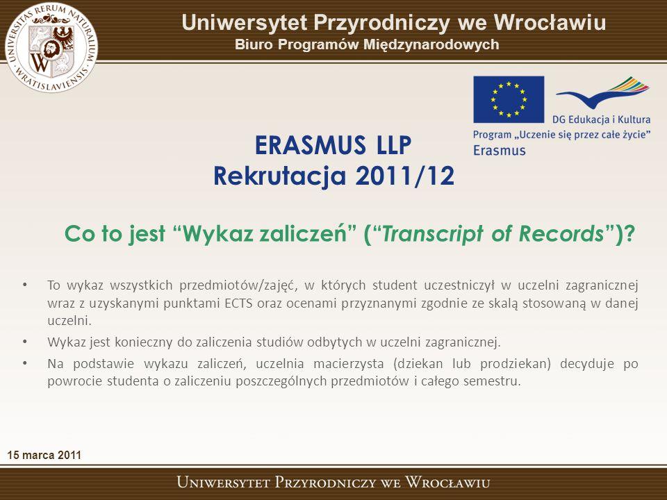 To wykaz wszystkich przedmiotów/zajęć, w których student uczestniczył w uczelni zagranicznej wraz z uzyskanymi punktami ECTS oraz ocenami przyznanymi zgodnie ze skalą stosowaną w danej uczelni.