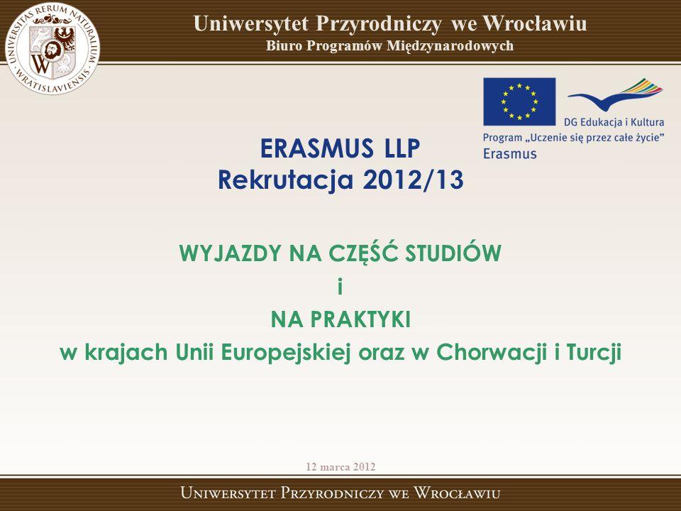 ERASMUS LLP Rekrutacja 201 2 /1 3 WYJAZDY NA CZĘŚĆ STUDIÓW i NA PRAKTYKI w krajach Unii Europejskiej oraz w Chorwacji i Turcji 12 marca 2012 Uniwersytet Przyrodniczy we Wrocławiu Biuro Programów Międzynarodowych