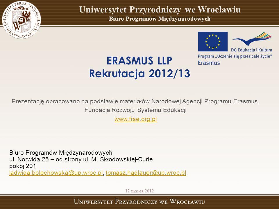 Prezentację opracowano na podstawie materiałów Narodowej Agencji Programu Erasmus, Fundacja Rozwoju Systemu Edukacji www.frse.org.pl Biuro Programów Międzynarodowych ul.