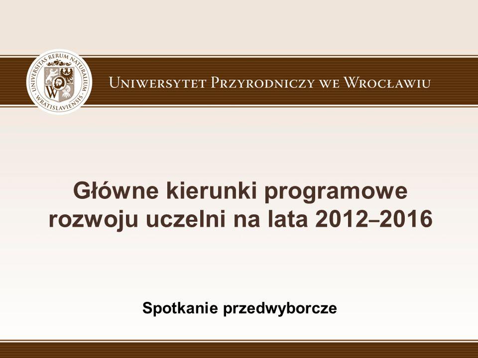 Główne kierunki programowe rozwoju uczelni na lata 2012 – 2016 Spotkanie przedwyborcze