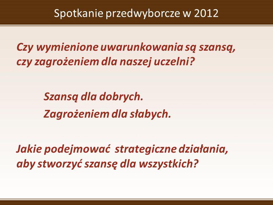 Spotkanie przedwyborcze w 2012 Czy wymienione uwarunkowania są szansą, czy zagrożeniem dla naszej uczelni.