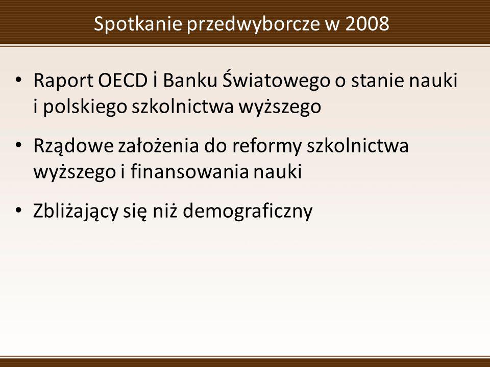 Spotkanie przedwyborcze w 2008 Raport OECD i Banku Światowego o stanie nauki i polskiego szkolnictwa wyższego Rządowe założenia do reformy szkolnictwa wyższego i finansowania nauki Zbliżający się niż demograficzny