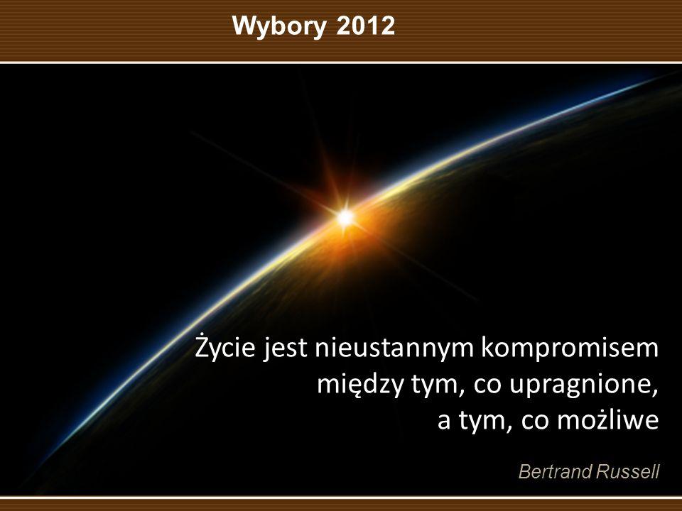 Życie jest nieustannym kompromisem między tym, co upragnione, a tym, co możliwe Bertrand Russell Wybory 2012