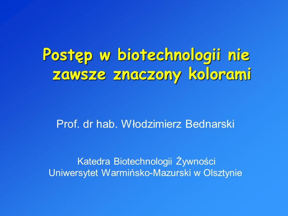 Prof. dr hab. Włodzimierz Bednarski Katedra Biotechnologii Żywności Uniwersytet Warmińsko-Mazurski w Olsztynie Postęp w biotechnologii nie zawsze znac