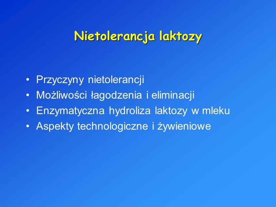 Nietolerancja laktozy Przyczyny nietolerancji Możliwości łagodzenia i eliminacji Enzymatyczna hydroliza laktozy w mleku Aspekty technologiczne i żywie
